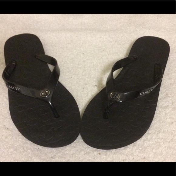 01ef0c99c7b Coach Shoes - COACH Black Abbigail Signature Flip Flop Sandals